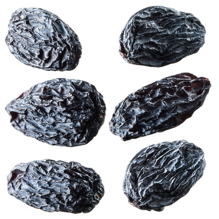 raisins: Black raisins. Collection isolated on white