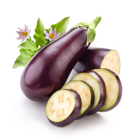 violaceous: Eggplant with leaves and flowers isolated on white Stock Photo