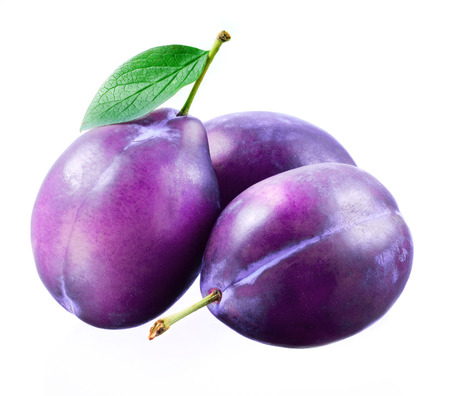 purple leaf plum: Plums isolated Stock Photo