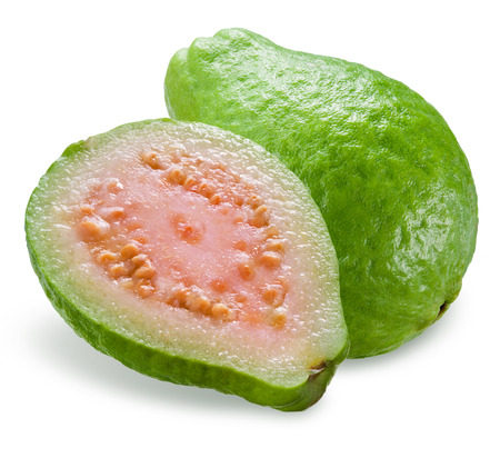 guava fruit: Guava with a half isolated on white