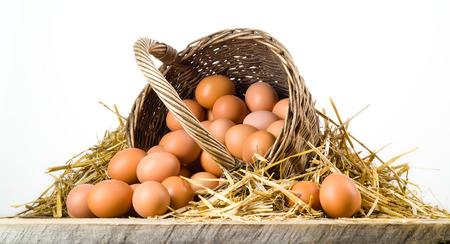 Oeufs de poulet dans le panier isolé. Les aliments biologiques