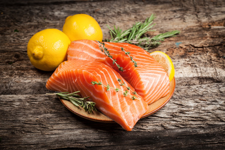 rosmarin: Fresh salmon with lemon Stock Photo