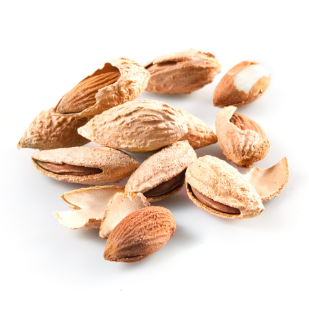 hard core: Almond  Nuts on white Stock Photo