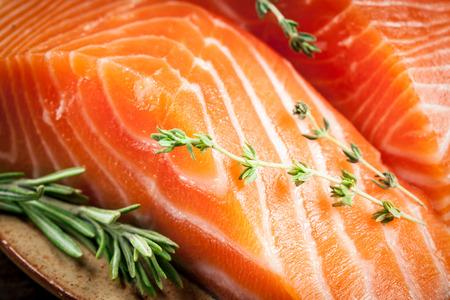 rosmarin: Fresh salmon. macro