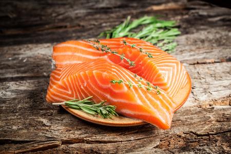 red fish: Fresh salmon