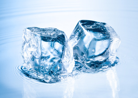 refrigerate: ice cube on water surface