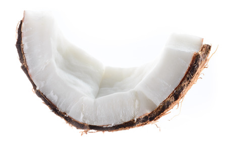 coconut palm: Coconut. Fruit piece isolated on white