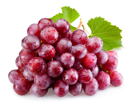 bright red: Ripe red grapes with leaves isolated