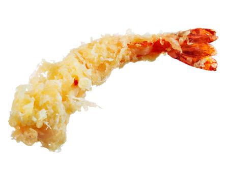 日本料理の油で揚げた天ぷらエビ白で隔離