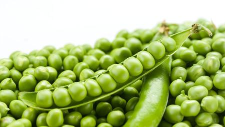 Peas on white background. Macro photo