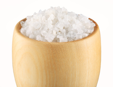crystal bowl: Sea Salt in a bowl on white background