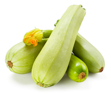 vegetable marrow: Fresh zucchini with flower isolated on white background