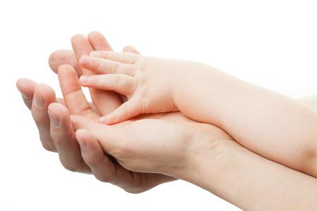 planificación familiar: Familia concept.Three manos de la familia en el fondo blanco
