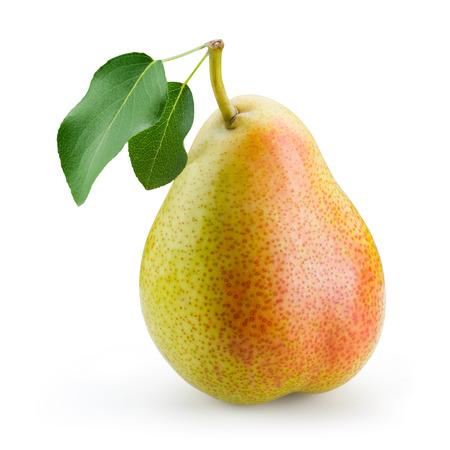 梨: 白い背景で隔離の葉と梨 写真素材