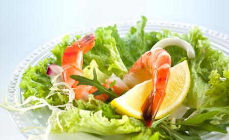 Prawn salad  Healthy Shrimp Salad with mixed greens photo