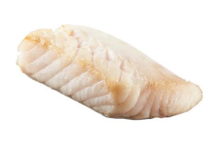 pangasius: Fresh prepared pangasius fish fillet on white background