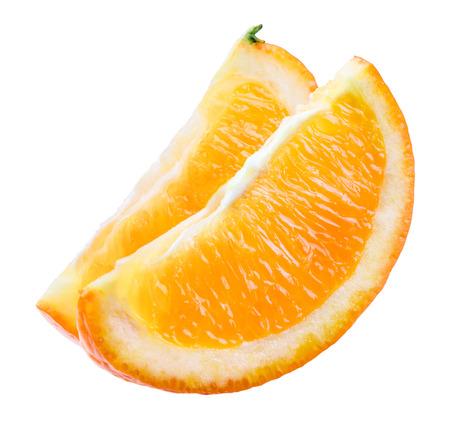orange slice: Orange slice op wit wordt geïsoleerd Stockfoto