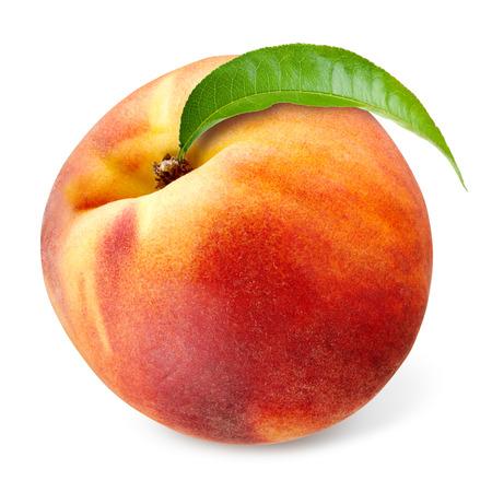 Pfirsich mit Blatt isoliert auf weiß Standard-Bild - 27118012