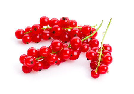 red currant: Red currant. Berries on stem isolated on white
