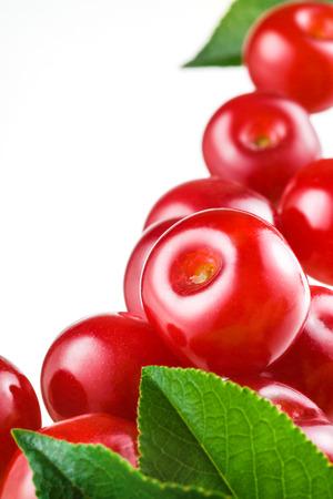 sour cherry: Sour cherry on white background  Fruit macro