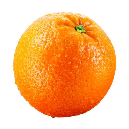 naranja fruta: Fruto de naranja con gotas aisladas sobre fondo blanco