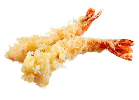 prepared shrimp: Tempura - fried shrimps japanese style on white background