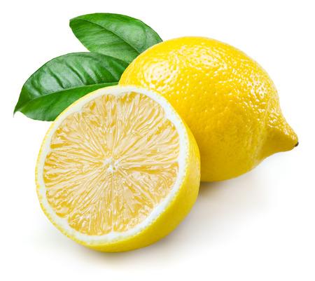 three leaf: Lemon. Fruits with leaves isolated on white Stock Photo