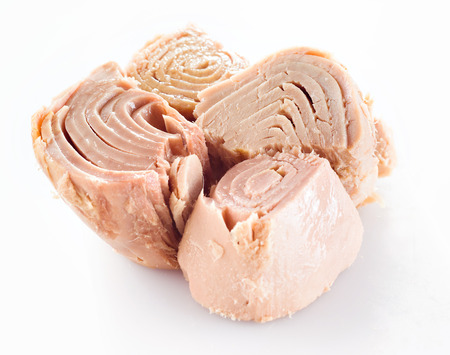 conserved: conserved tuna fish on white Stock Photo
