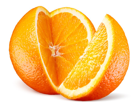 Orange fruit with cut isolated on white