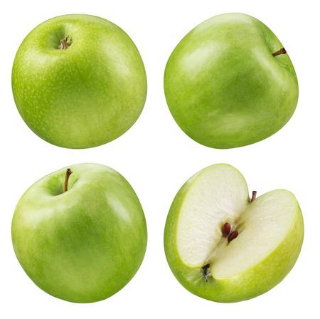 manzana verde: Recolección de manzana verde. conjunto de frutas aisladas sobre blanco