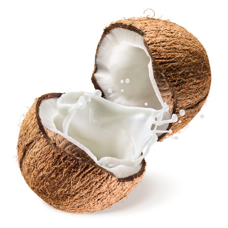 latte fresco: Noce di cocco e mezzo con latte spruzzata su sfondo bianco