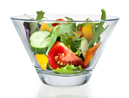 Fresh vegetable salad in bowl. With clipping path photo