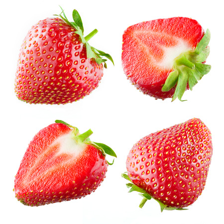 イチゴ。白で隔離コレクション