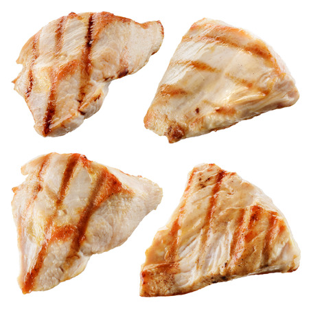 chicken breast: Grilled chicken meat pieces isolated on white. Collection Stock Photo