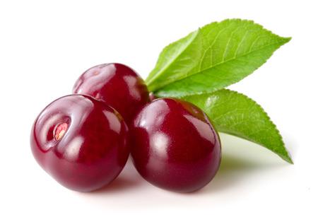Cherry Drie bessen op wit wordt geïsoleerd Stockfoto
