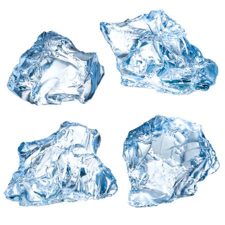 chunk: Ice blocks on a white background.  Stock Photo