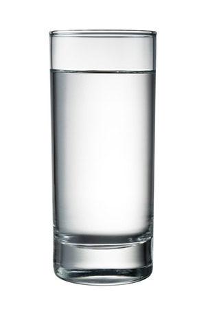 water reflection: Water glass isolated on white.