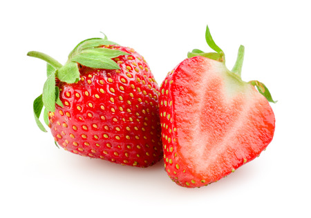 from halves: Strawberry isolated on white