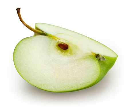 Green apple. Slice isolated on white. With clipping path Stock Photo
