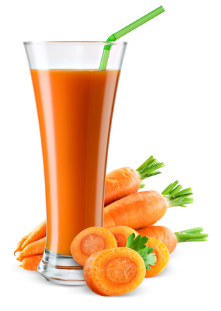 Glass of carrot juice with fruit isolated on white.