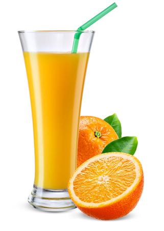 drinking juice: Glass of orange juice with fruit isolated on white. Stock Photo