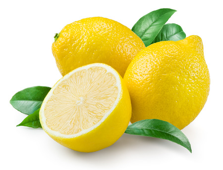 organic lemon: Lemon. Fruit with leaves on a white background. Stock Photo