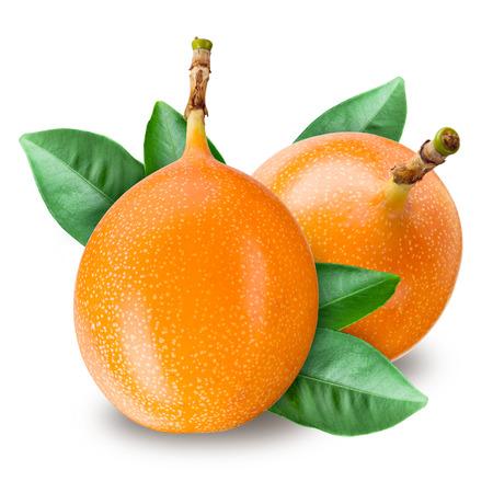 grenadilla: Passion fruit. Grenadilla isolated on white background Stock Photo