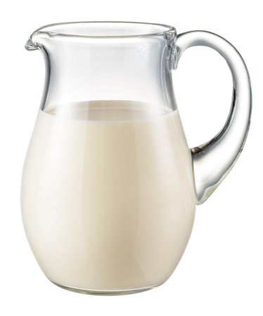 milk jugs: Glass jug of fresh milk isolated on white. With clipping path