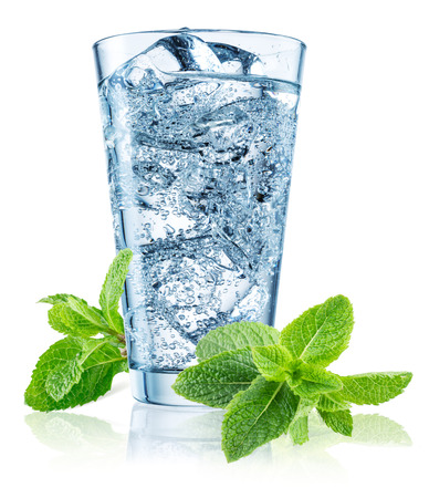 carbonated: Glass of water with mint