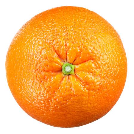 naranja fruta: Fruto de naranja aislado en blanco. Vista superior.