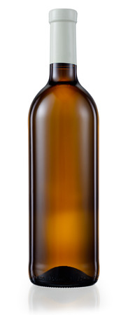 unlabeled: Dark brown glass bottle with white wine isolated. With clipping path Stock Photo