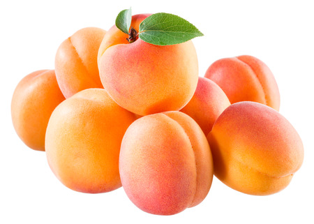 apricot kernel: Ripe juicy apricots isolated on white background Stock Photo