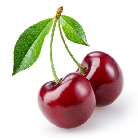 sweet and sour: Cherry with leaves isolated on white background Stock Photo