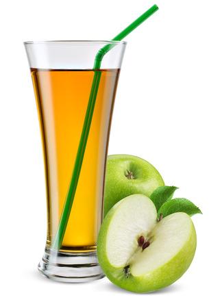 Glas appelsap met fruit geïsoleerd op wit.